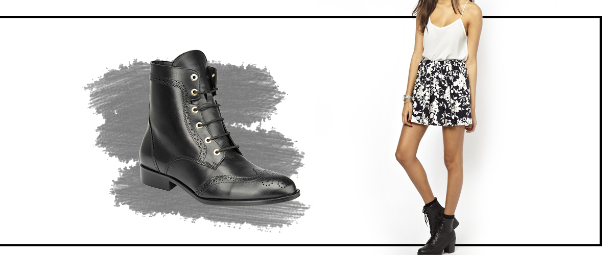 68e5bd4f Otra forma de usar tu falda floral y aportando un estilo más 90's a tu  atuendo es combinarla con las botas de combate o botines de agujetas.